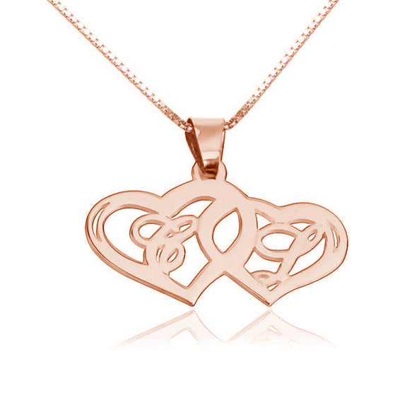 925 Sterling Silver Two Heart Initial Necklace - onlyone