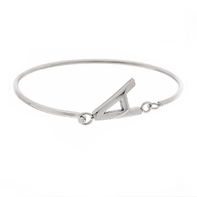 925 Sterling Silver Personalized Block Initial Bangle - onlyone