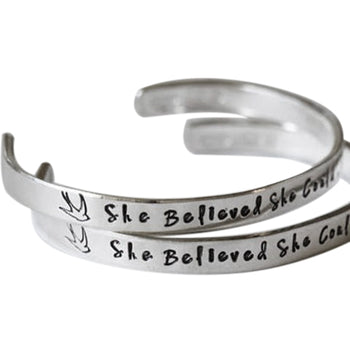 "Personalized Hand Stamped Cuff 6""-7.5"""