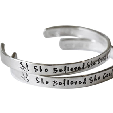 "925 Sterling Silver Personalized Hand Stamped Cuff 6""-7.5"" Inspirational Bracelet - onlyone"