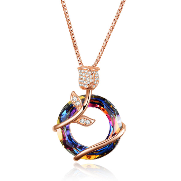 Rose Gold Necklace For Women With Swarovski Crystal, Gift For Girlfriend - onlyone