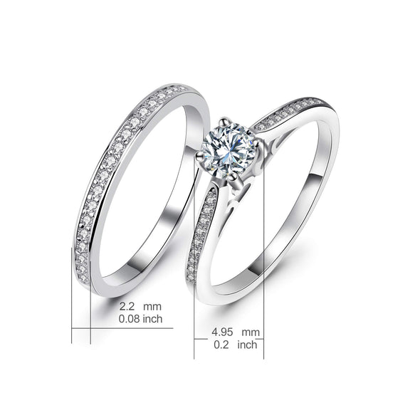 925 Sterling Silver Round Ring Set Made By Cubic Zirconia - onlyone