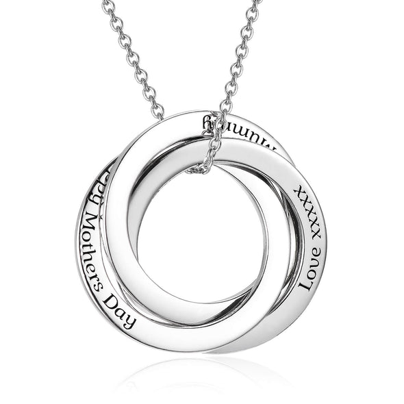 925 Sterling Silver Russian Ring Circle Custom Engraved Name Necklace, Gift For Mom, BFF Gifts - onlyone