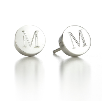 Personalized Circle Initial Mini Alphabet Stud Earrings-Personalized Earrings-YAFEINI-yafeini-personalized-custom-jewelry