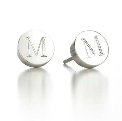 925 Sterling Silver Personalized Circle Initial Mini Alphabet Stud Earrings - onlyone