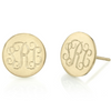 925 Sterling Silver Personalized Circle Monogram Stud Earrings - onlyone
