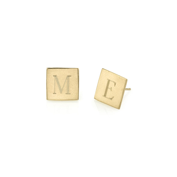 925 Sterling Silver Personalized Square Initial Alphabet Earrings - onlyone