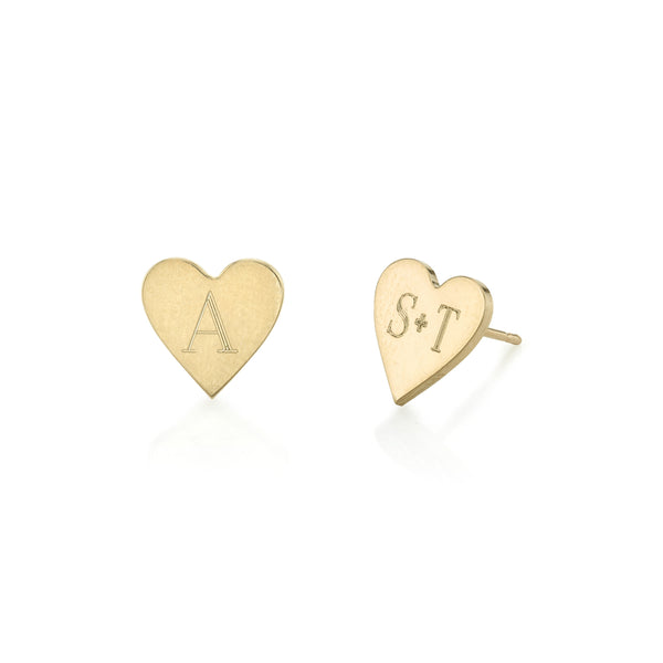 Personalized Love Heart Alphabet Stud Earrings-Personalized Earrings-YAFEINI-yafeini-personalized-custom-jewelry