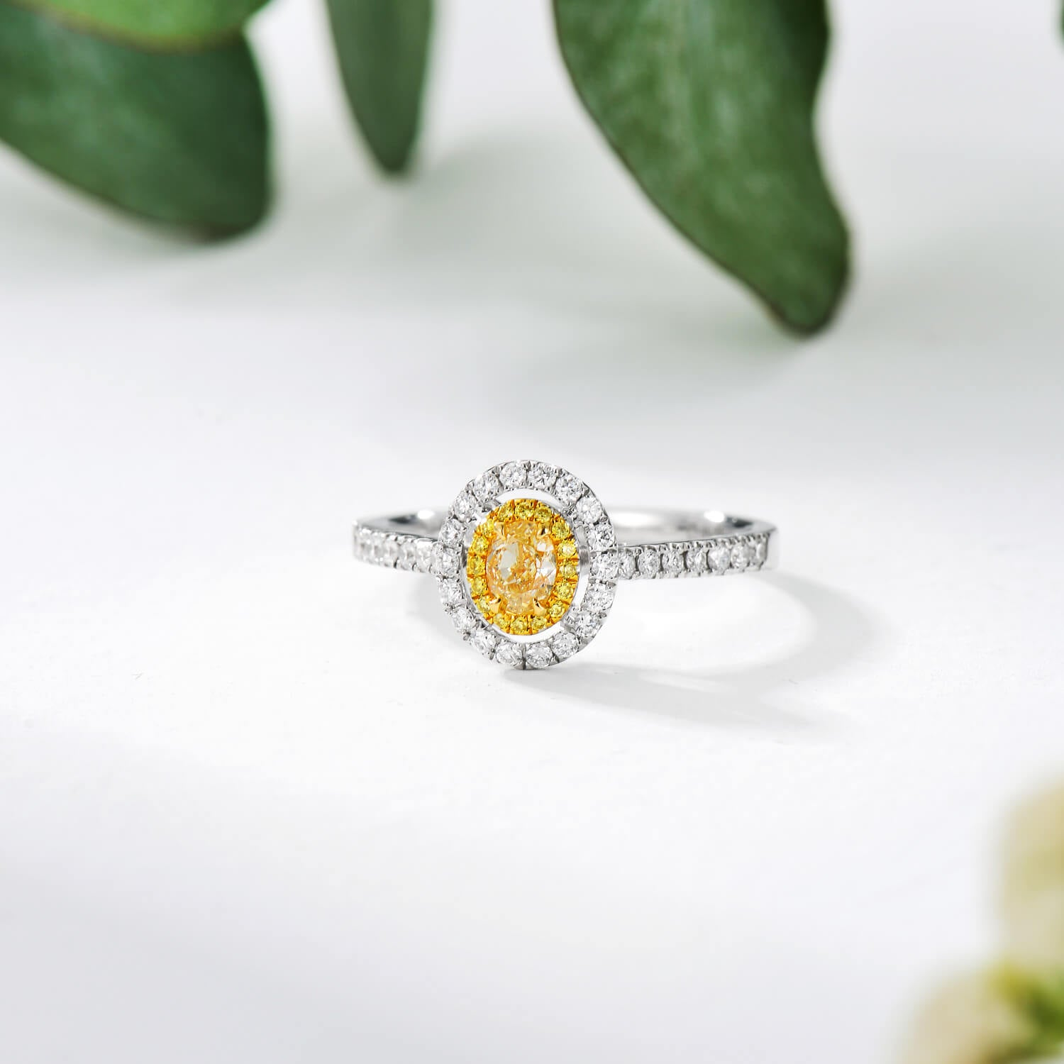 18K Classic Halo Style Oval Yellow Diamond Engagement Ring