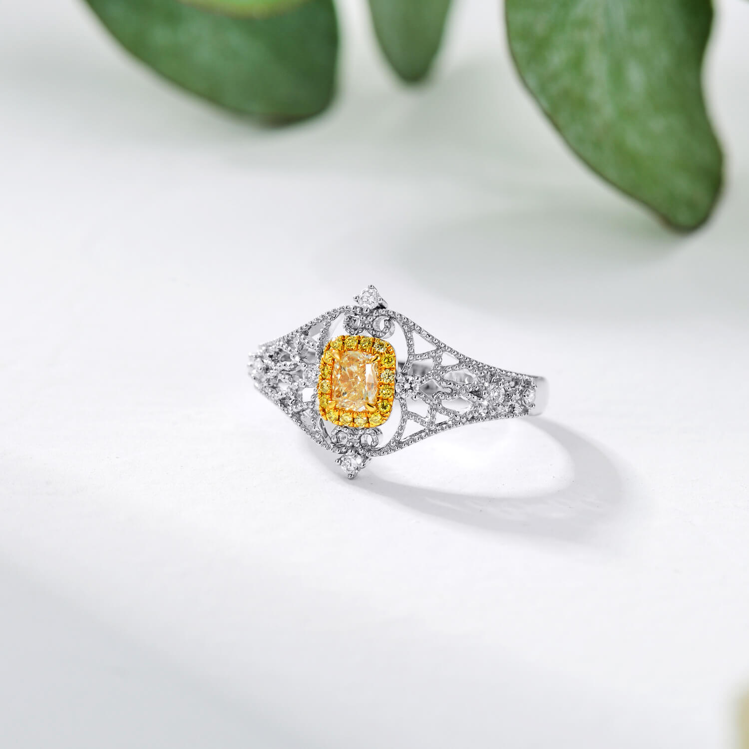 18K Vintage Cushion Yellow Diamond Ring