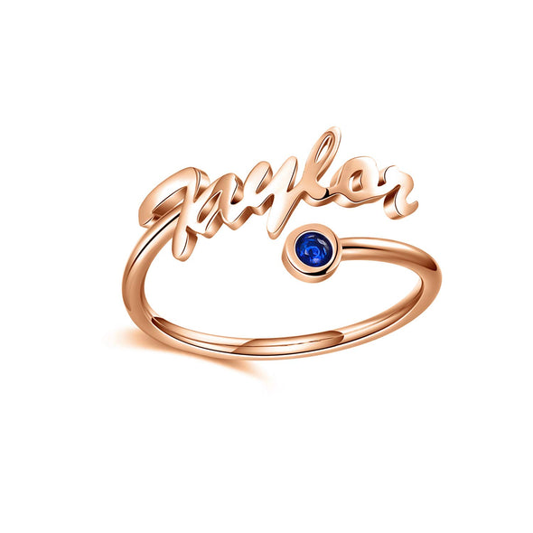 925 Sterling Silver Name Ring With Birthstone
