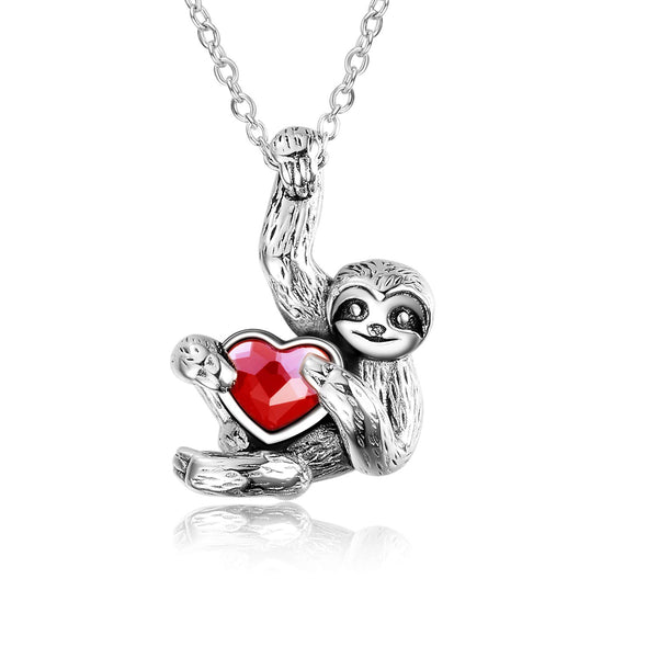 925 Sterling Silver Sloth and Heart Pendant Necklace
