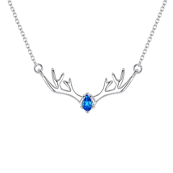925 Sterling Silver Antler Horn Reindeer Necklace