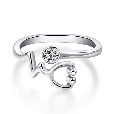 925 Sterling Silver White Angel Stethoscope Heartbeat Ring Graduation Gift