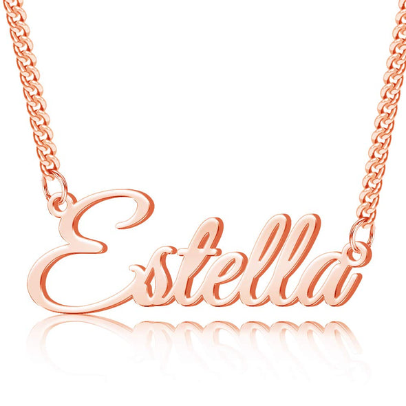 925 Sterling Silver Name Necklace In 3mm Curb Link Chain
