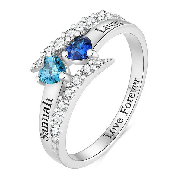 925 Sterling Silver Personalized Love Heart Mothers Ring