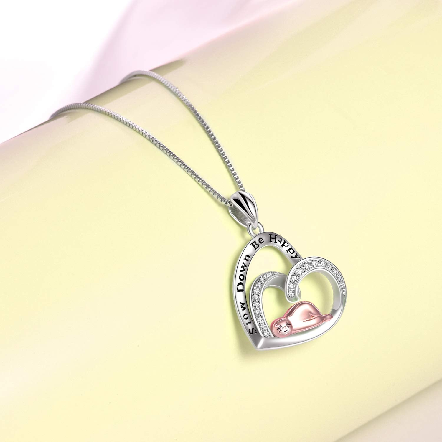 925 Sterling Silver Sloth Heart Necklace