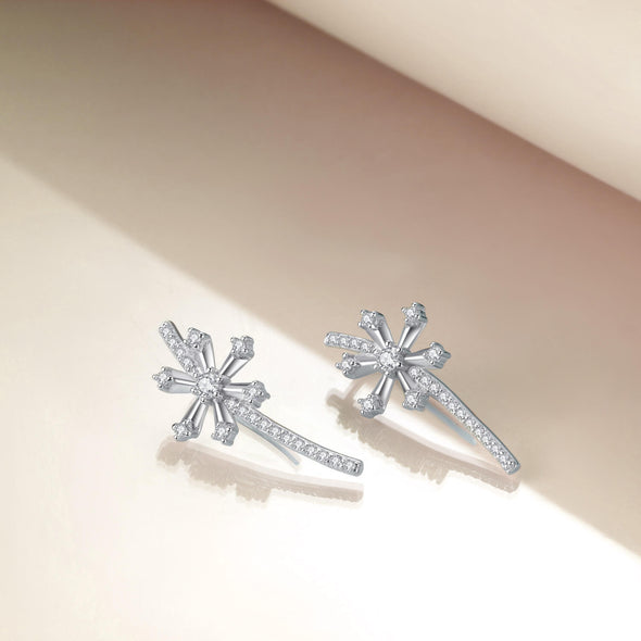 925 Sterling Silver Snowflake Ear Climber Crawler Cuff Earrings Snowflake Wrap Earrings Cubic Zirconia Christmas Gifts - onlyone