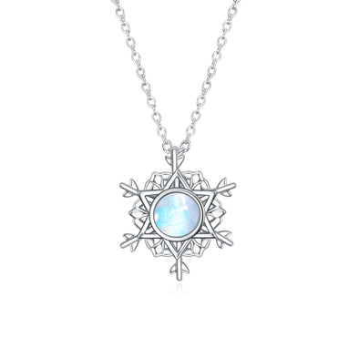 925 Sterling Silver Snowflake Necklace With Moonstone Christmas Gift - onlyone