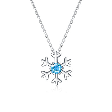925 Sterling Silver Snowflake Pendant Necklace With Sky Blue Cubic Zirconia Christmas Gift - onlyone