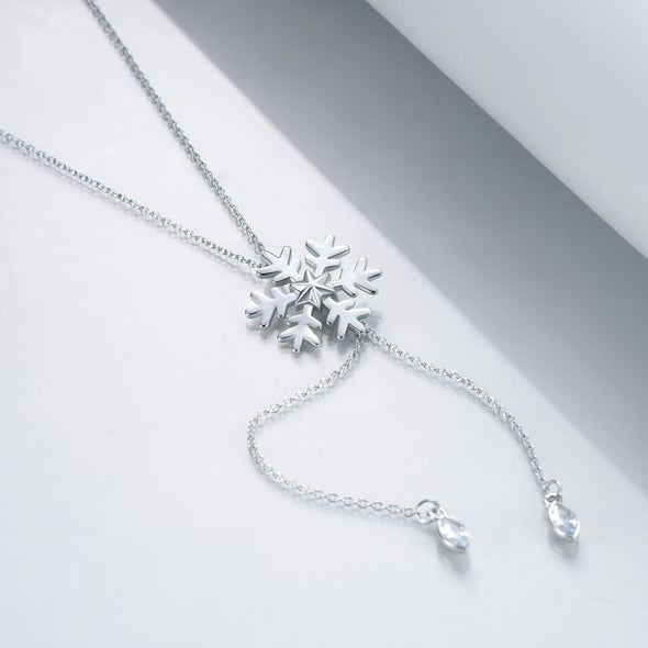 925 Sterling Silver Snowflake Pendant Necklace Christmas Gift - onlyone