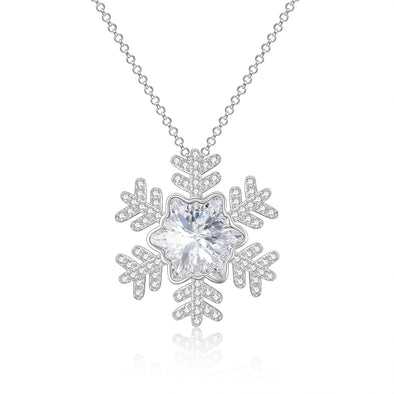 925 Sterling Silver Snowflake Necklace With Cubic Zircon Christmas Gift - onlyone