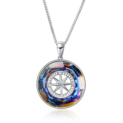 925 Sterling Silver Compass Pendant Necklace With Swarovski Crystal Graduation Gift - onlyone