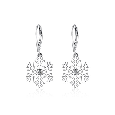 925 Sterling Silver Snowflake Pierced Dangle Earrings With Cubic Zirconia Christmas Gift - onlyone