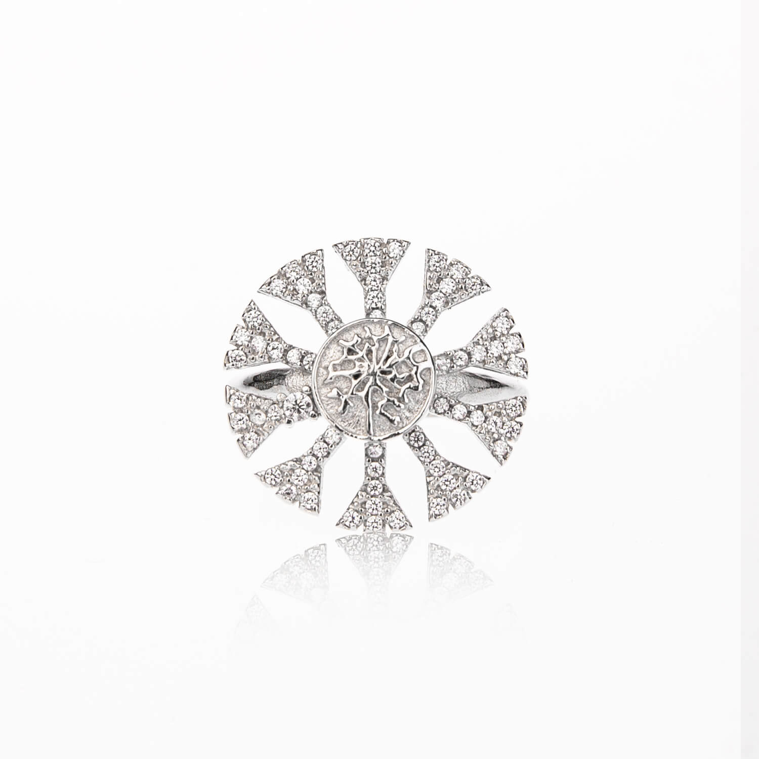 925 Sterling Silver Rotatable Cubic Diamond Snowflake Ring - onlyone