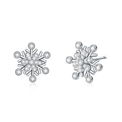 925 Sterling Silver Snowflake Stud Earrings With Cubic Zirconia Winter Gift - onlyone