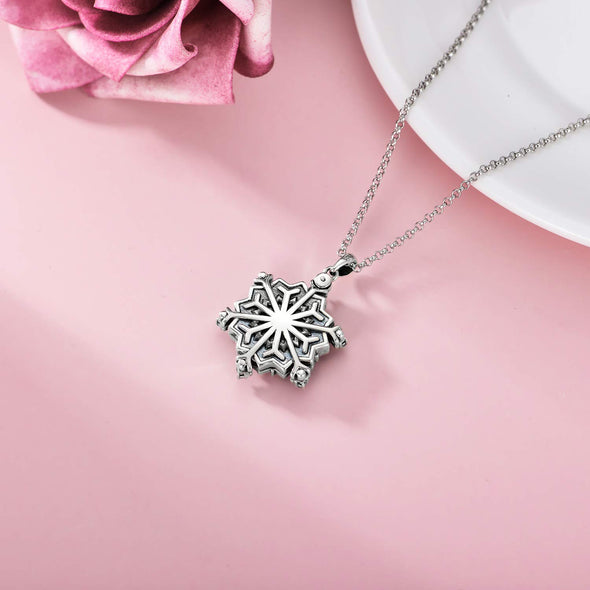 925 Sterling Silver Custom Snowflake Photo Locket Necklace