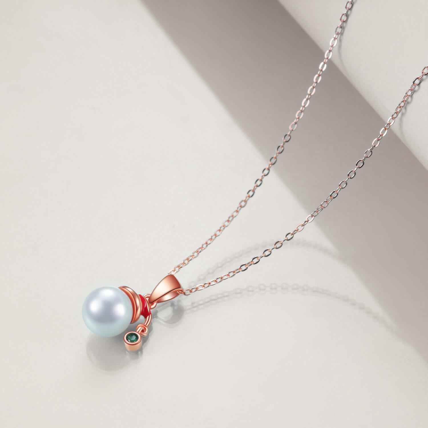 925 Sterling Silver Pearl Snowman Pendant Necklace Christmas Gift - onlyone