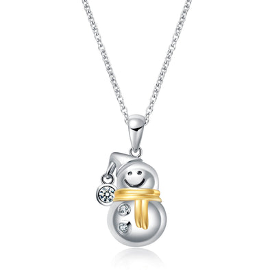925 Sterling Silver Snowman Necklace with Cubic Zirconia Pendant Necklace Christmas Gift - onlyone