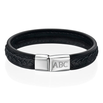 Stainless Steel And Black Leather Initials Engraved Bracelet for Men, Father's Day Bracelet - onlyone