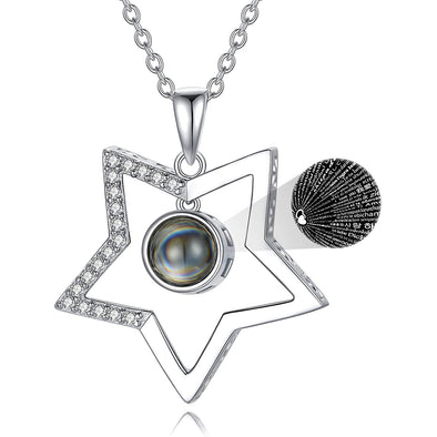 925 Sterling Silver Star  Necklace with 100 Languages I Love You Stone