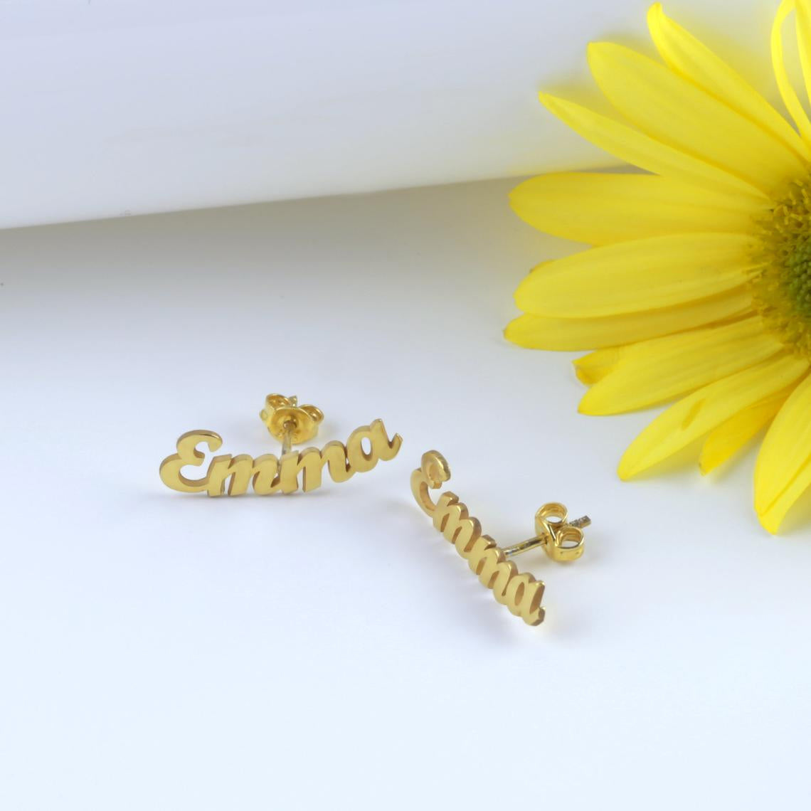 925 Sterling Silver Personalized Initial Name Earring