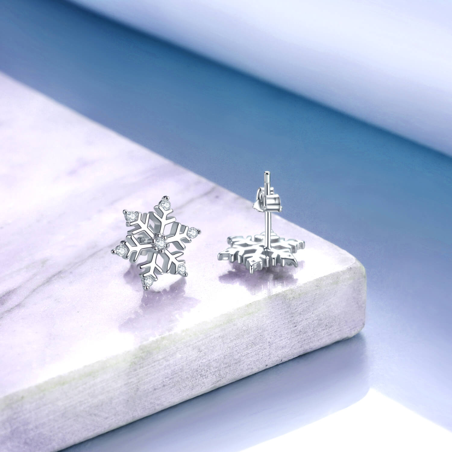 925 Sterling Silver Snowflake Stud With Cubic Zirconia Earrings Winter Gift - onlyone