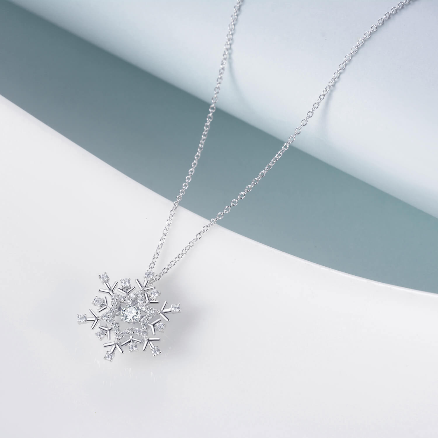 925 Sterling Silver Snowflake Necklace With Cubic Zirconia Christmas Gift - onlyone