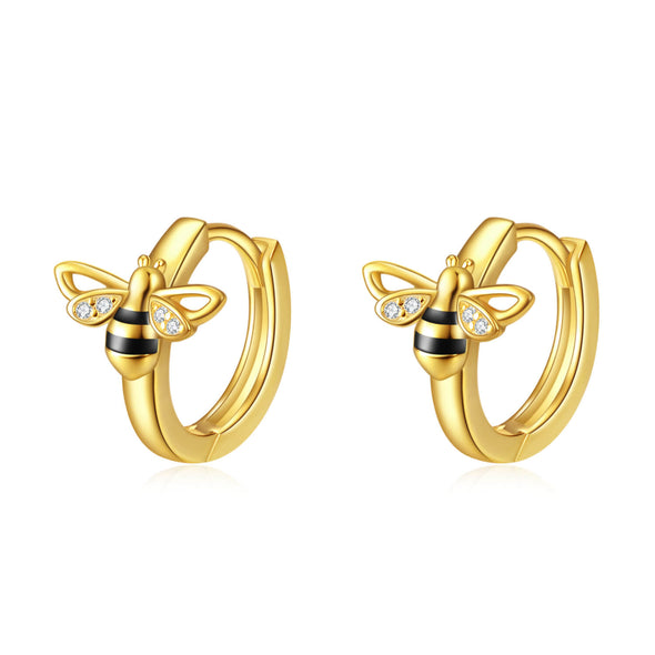 925 Sterling Silver Sticky Little Honeybee Hoop Earrings - onlyone