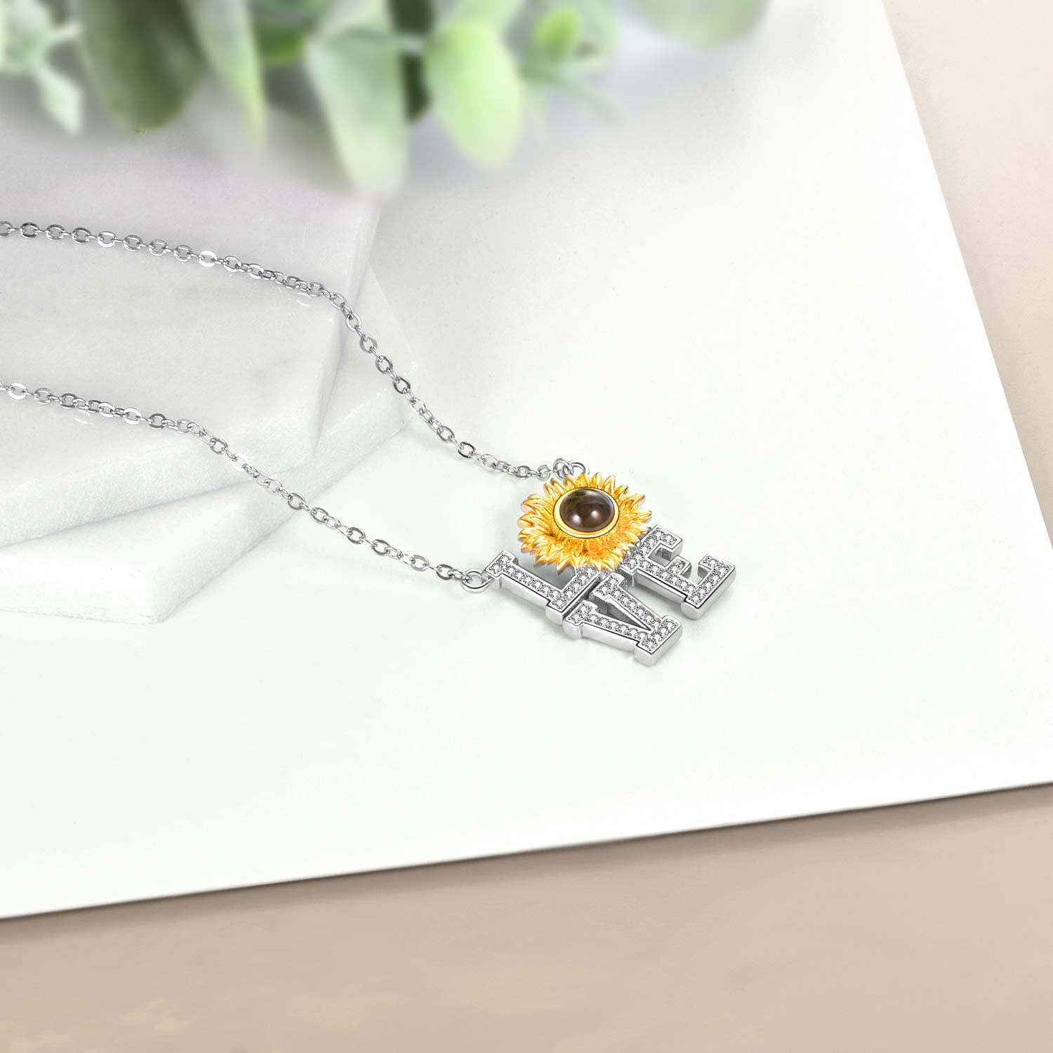 925 Sterling Silver I Love You Necklace 100 Languages Sunflower Love Pendant Crystal Love Memory Projection Necklace