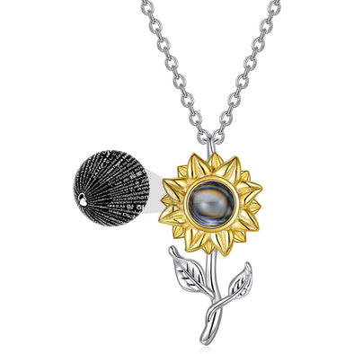 925 Sterling Silver Filigree Sunflower with 100 Languages I Love You Stone
