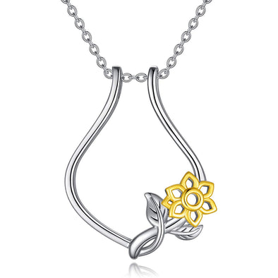 925 Sterling Silver Sunflower Ring Holder Necklace