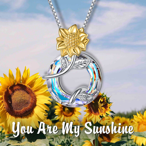 925 Sterling Silver Sunflower Necklace With Swarovski Crystal - onlyone