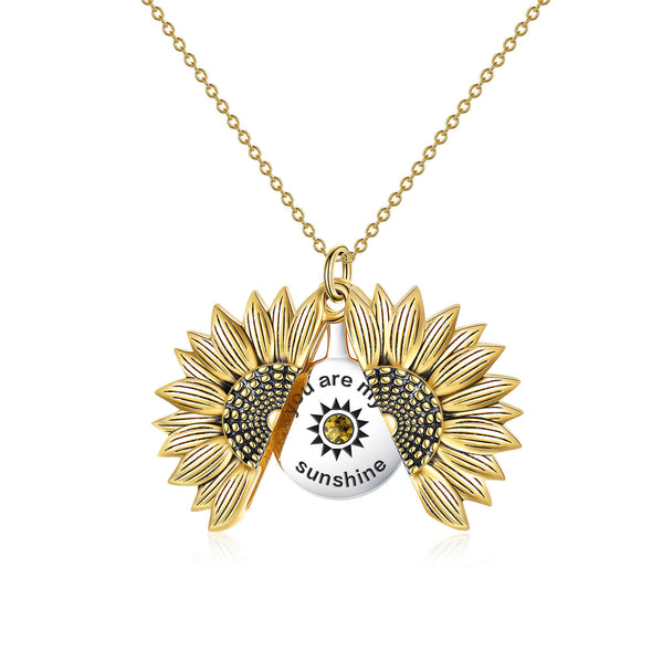 925 Sterling Silver Vintage Customized Open Locket You Are My  Sunshine Sunflower Pendant Necklace With Birthstone - onlyone