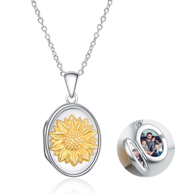925 Sterling Silver Sunflower Photo Locket You Are My Sunshine Pendant Necklace - onlyone