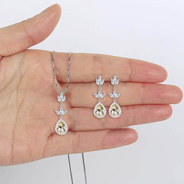 925 Sterling Silver Crystal Leaf Drop Dangle Earrings Bridal Party Gift - onlyone