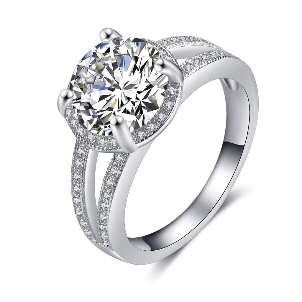 925 Sterling Silver Cubic Zirconia Flower Halo Ring