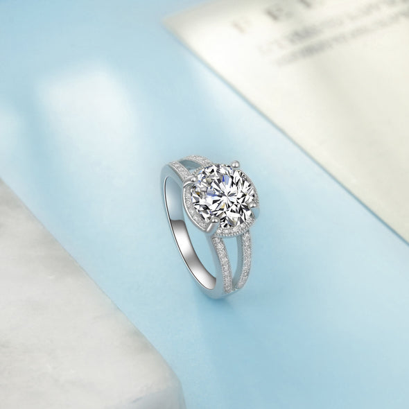 925 Sterling Silver Cubic Zirconia Flower Halo Ring - onlyone