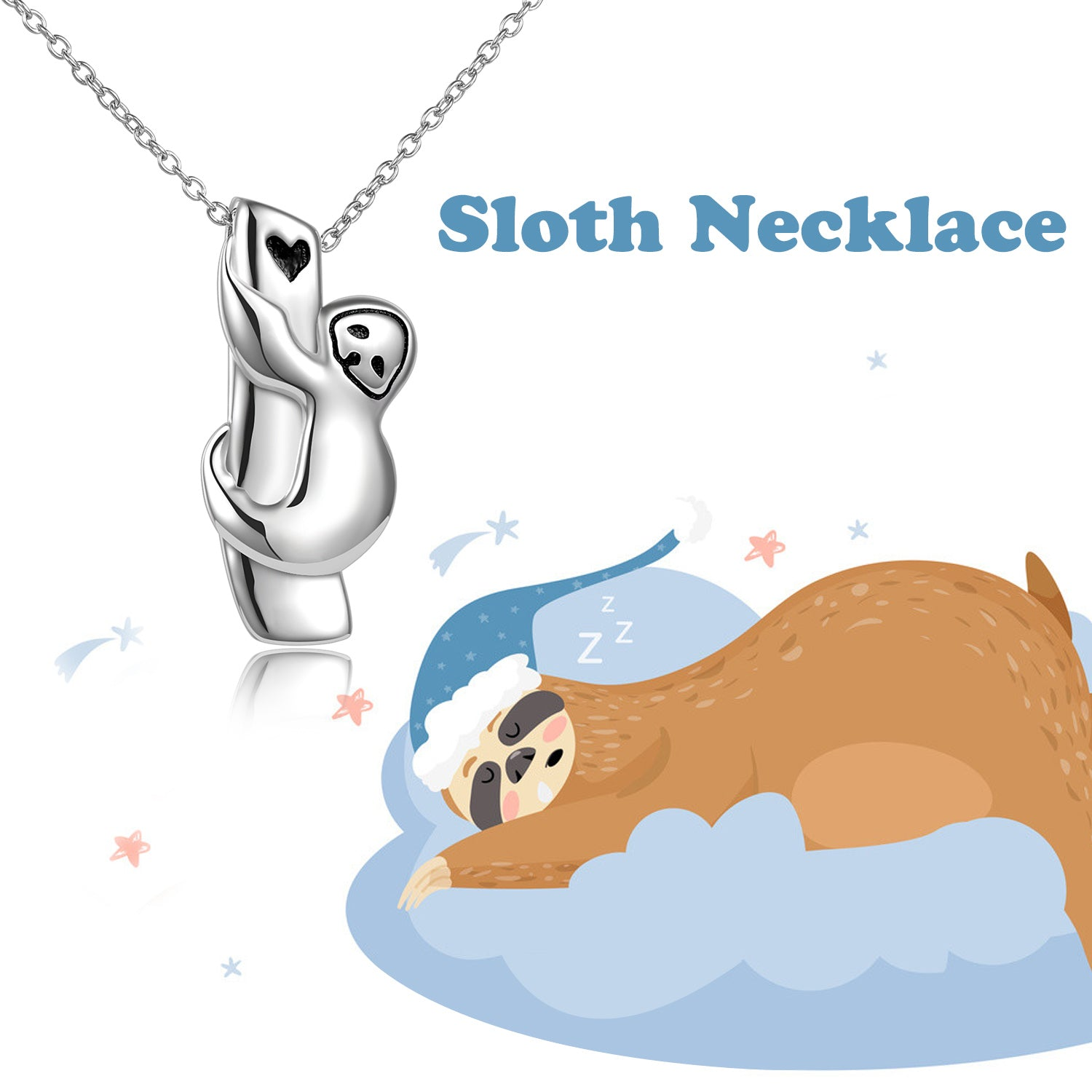 925 Sterling Silver Tree Sloth Necklace, Silver Sloth Pendant