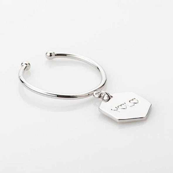 925 Sterling Silver Personalized Name Charm Open Ring Nameplate Ring - onlyone